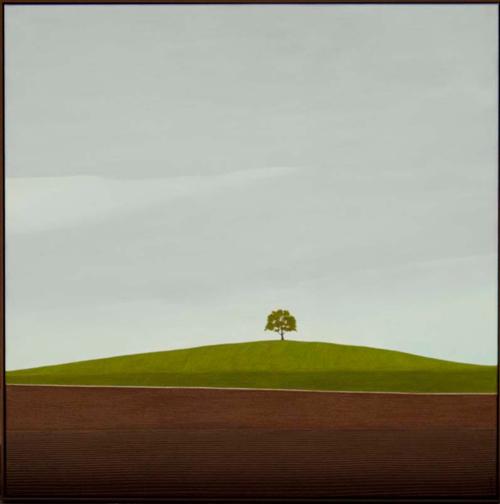 Karl Inglin, Paysage, huile sur toile, 80 x 80 cm, p.p. Nielet-les-Bois