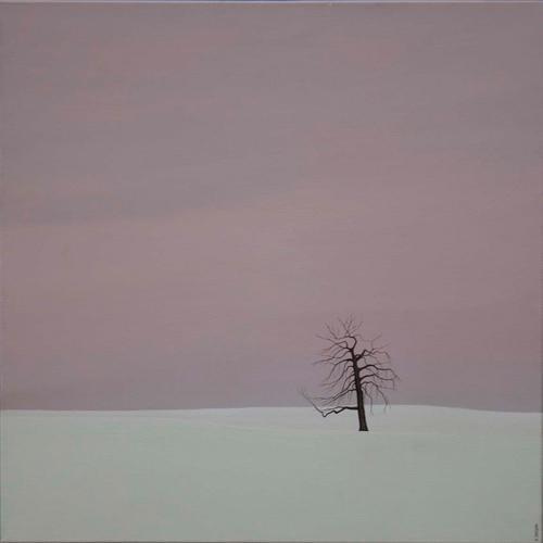 Karl Inglin, Paysage, huile sur toile 60x60 cm (p.p. Ponthaux)