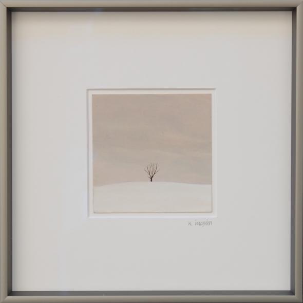 Karl Inglin - Paysage, huile sur carton, 10 x 10 cm (p.p. Moudon)