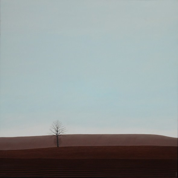 Karl Inglin, Paysage, huile sur toile 100 x 100 cm, p.p. Fribourg