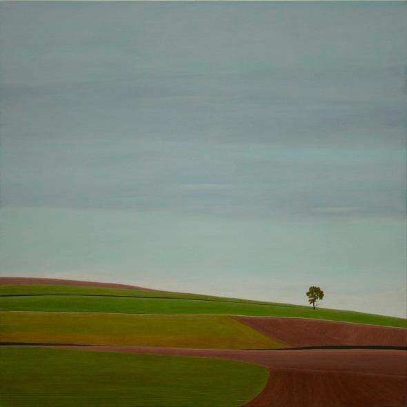 Karl Inglin, hommage à Gustave Roud, Septembre, huile sur toile 100 x 100cm