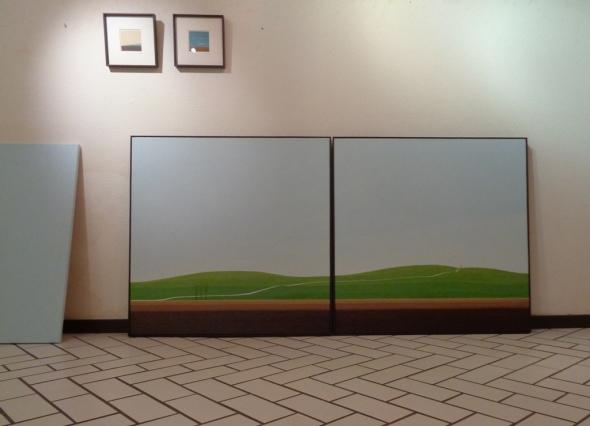 Paysage, huile sur toile, 2x 100x100cm