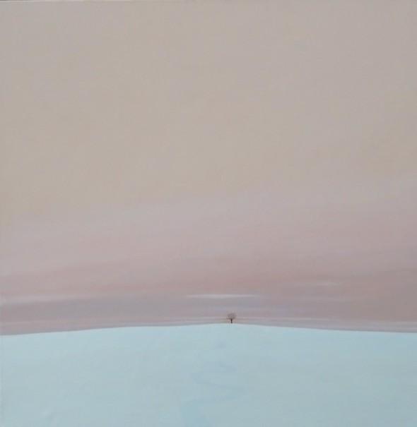 Karl Inglin, Paysage, huile sur toile, 100 x 100 cm