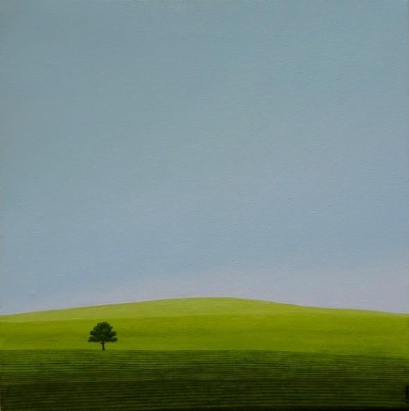 Karl Inglin, Paysage, huile sur toile 40 x 40 cm