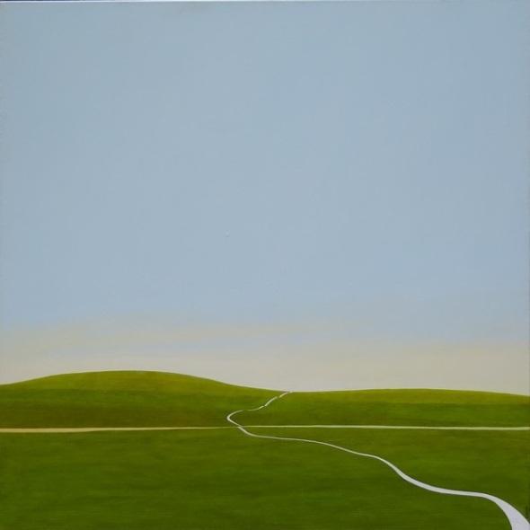 Karl Inglin, Paysage, huile sur toile, 100 x 100 cm, disponible